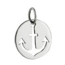 Anchor Charm - 925 Sterling Silver 925 Tiny Disk Nautical Ship Cutout NEW