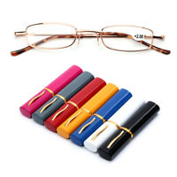 Case Eyeglass Reading Glasses with Pen Tube Case Presbyopic Glasses Portable