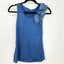 Anthropologie Tiny Top Blouse Size Small Sleeveless Peplum Sleeve Blue Eyelet