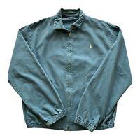 VTG 90s Polo Ralph Lauren Blue USA Made Pony Golf Harrington Jacket Men's Medium