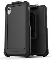 iPhone XR Belt Clip Case with Holster Rugged Protective Cover (Falcon) Black
