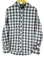 COUNTRY ROAD Mens Check Navy Red White Cotton Long Sleeve Shirt - Size M