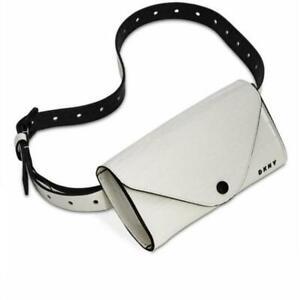 DKNY Womens Belt Bag Medium White Croc Embossed Adjustable Faux Leather