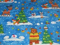 "Timeless Treasures ""Woodland Holiday Scenic"" Christmas Fabric. 100% Cotton"
