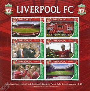 LIVERPOOL Football Club Stamp Sheet (2002 Grenada) (Anfield/The Kop/Houllier)