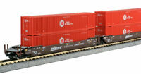 KATO 1066178 N  MAXI-IV 3 Well Car Set w/6 HUB Containers BNSF #253411 106-6178