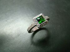 Exquisite 14k white gold Chrome Diopside and diamond ring.