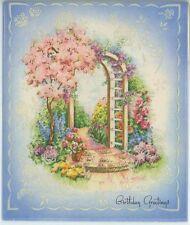 VINTAGE SPRING SEASON ARBOR TRELLIS FLOWER GARDEN GATE CARD LITHOGRAPH ART PRINT