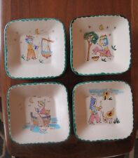 4 Vtg hand-painted Art Pottery Plates decorated by Vietri  Desimone of Italy.