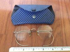 Antique Vtg Octagonal Frames 1/10 12k gf gold Filled Eye Glasses Rimless w/case