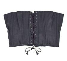 "Bondage Black Faux Leather Garter Belt Corset Lace Up Cosplay 35"" + Adjustable"