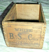 VINTAGE BSC BEST SCHOOL CRAYON DOVETAIL BOX BINNEY & SMITH 1 GROSS WHITE