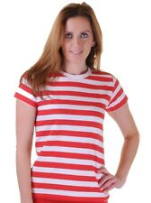 WOMENS RED AND WHITE STRIPED T-SHIRT LADIES GIRLS TSHIRT TOP LOT T SHIRT