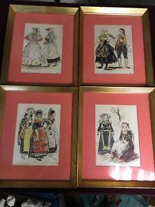 4 Vintage Framed Mario Vellani - Marchi Italian Costume Prints - Menu Cards