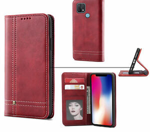 Oppo A15 Leather Wallet Case Stitched
