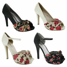 Unbranded Floral Stiletto Peep Toe Heels for Women