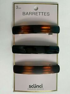 "Scunci Barrettes ( 3 pcs ) Elevated Basics 3.5"" big size Women Girl Hair Black"