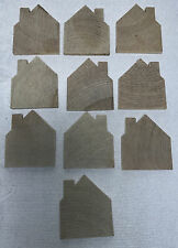 WOOD CUT OUT HOUSE shape Craft supplies set 10 NEW magnet ornament