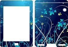 New Kindle Touch Ebook Reader Skin Cover Vinyl Sticker Blue Flowers Floral KT20