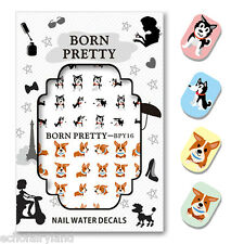 Cute Dog Water Decal Nail Art Transfer Sticker Decoration Manicure BORN PRETTY