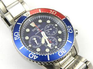 Men's Seiko Pepsi Solar V175-0AD0 Divers Chrono Watch - 200m