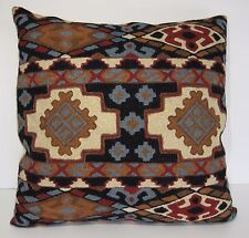 "Kashmir Pillow Cushion Cover Wool 18"" Crewel Ari Chain Stitch India Geometric"