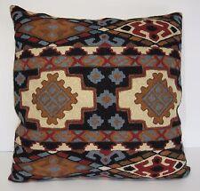 "Kashmir Pillow Cushion Cover Wool 18"" Crewel Ari Chain Stitch India Geometric"