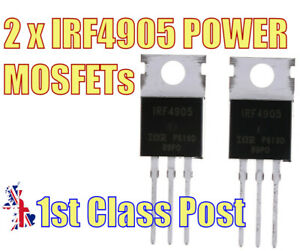 2 x IRF4905 P-Channel MOSFET Hexfet -55V, -74A, TO-220 - UK 1st CLASS POST