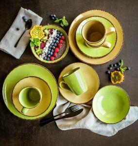 Set Kaffeeservice Tafelservice Geschirr Feinsteinzeug 4 Pers. Puro Grün Beige