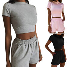 Women Crop Top Tracksuits Set Ladies Joggers Active Loungewear Shirt Shorts Suit