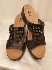Women's Clarks Collection Hayla Samoa Slide Sandals Black Size 8