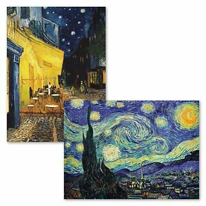 2 Pack - The Starry Night & Cafe Terrace at Night - Vincent Van Gogh Posters ...