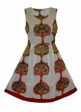Cotton Scoop Neck Skater Sleeveless Dresses for Women