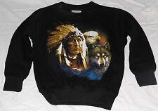 Mädchen Jungen Pullover Kinder-Sweatshirt mit Motiv Indianer Wolf Adler Schwarz