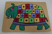 "Elephant Alphabet Wood Frame Tray Puzzle 12x8"" Teal/Purple/Yellow/Red Learning"
