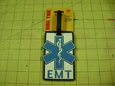 BLUE AND  WHITE EMT Luggage/Gear Bag Tag NAME INSERT ON BACK