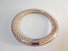 Pono Joan Goodman Beige Silver Braided Rope Clear Resin Bangle Bracelet NIP 195