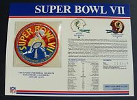 1973 NFL Super Bowl VII (7) Patch Miami Dolphins vs Redskins Willabee & Ward
