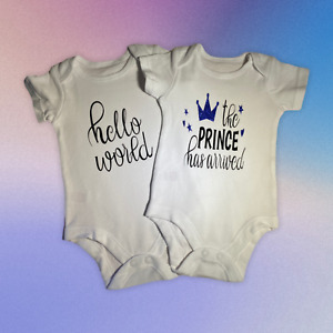 New Baby Arrival Set of 2 Cute Vests 'The Prince has Arrived' and 'Hello World'
