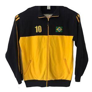 Men's Vtg Pierim Soccer Brazil CBF Yellow Zip Up Sweater Sz XL