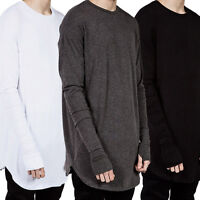 Fashion Men Hip Hop Long Sleeve T-shirt with Thumb Hole Cuff Street Wear Tops