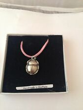 Egyptian Scarab SPP Pewter Pendant on a Pink Cord Necklace