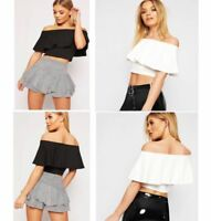 Ladies off shoulder Ruffle Frill crop Top Womens Bardot Fashion Tops 8-14