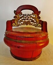 19th c.Chinese hand-painted wooden food basket with Certificate of Antiquity