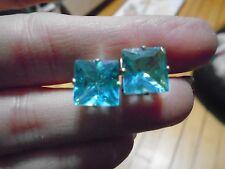 New Rhinestone Square Gem Stud Blue Earring