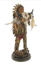 Native American Warrior Indian Sculpture Holding A Skull Art Statue Figurine