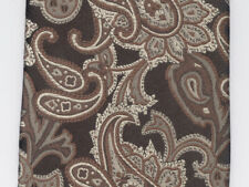 Zanzara Men's Neck Tie Brown Silver Paisley Formal Dark Business 100% Silk