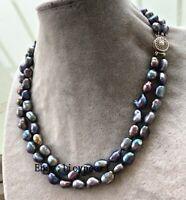 doppelt Reihen 9-10mm schwarz Barock Süßwasser Perle Halskette