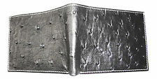 ~  T. Marcus RFID Blocking Peruvian OSTRICH LEATHER WALLET Black Mens GIFT NEW !