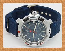 Vostok KOMANDIRSKIE russian military mechanical watch # 811398 nylon strap new